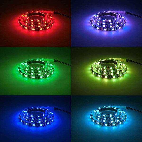 5V 5050 60SMD/M RGB LED Strip Light Bar TV Back Lighting Kit+USB 24 Key Remote Control - BeZONED