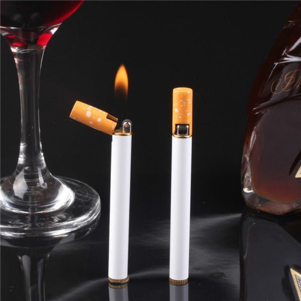 1pc Refillable Butane Gas Jet Flame Lighter Cigarette Shaped Windproof Men Gift (No Gas ) - BeZONED