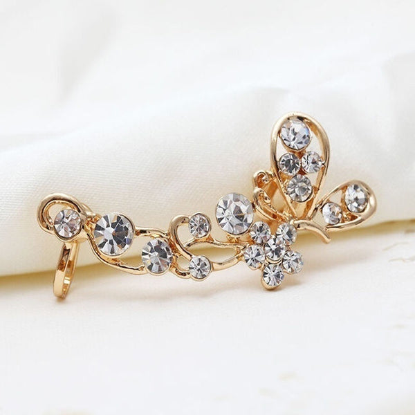 1Pcs Retro Crystal Butterfly Flower Clip Ear Cuff Stud Earring Wrap Girl Jewelry Gift - BeZONED