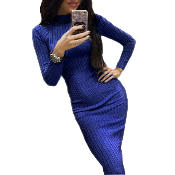 2018 Women's Autumn Spring Dresses Robe Sexy Black Midi Sheath Slim Bodycon Dress - BeZONED
