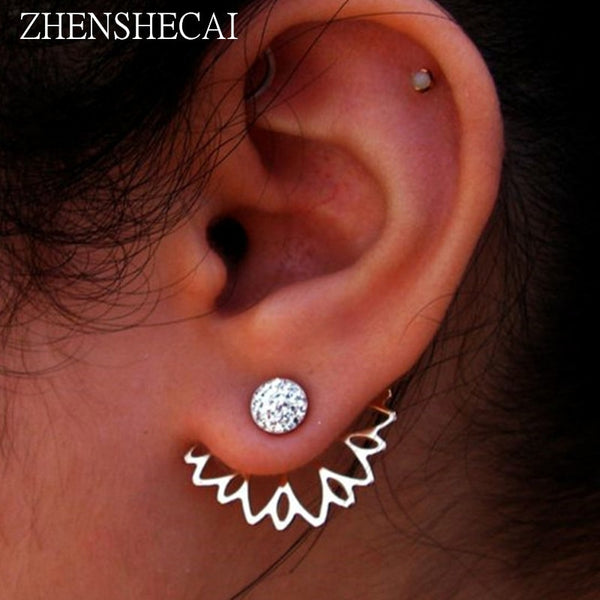 2017 Crystal Flower Stud Earrings For Women fashion Jewelry gold sliver Simple design Rhinestones - BeZONED