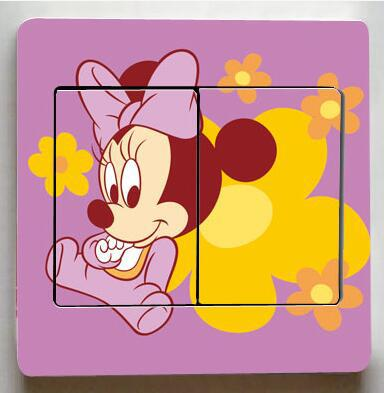 1 pcs Cute Mickey Switch Stickers, Mickey Mouse Donald Duck Light Switch Stickers, - BeZONED