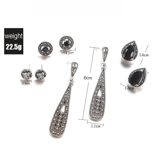 4 Pairs/Set Women Crystal Bohemian Earring Stud Earrings for Women Boucle D'oreille Jewelry - BeZONED