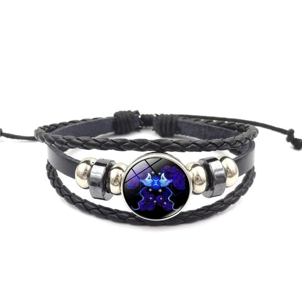 2018 fashion 12 Constellation Snap Bracelet Men Women Weaving Bead Diy Bracelets Leather - BeZONED