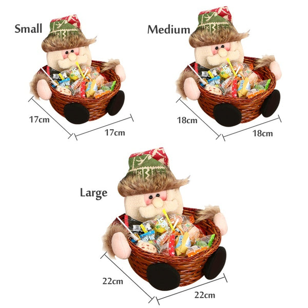 2018 Christmas party decorations Empty gift candy woven basket Snack basket Snowman - BeZONED