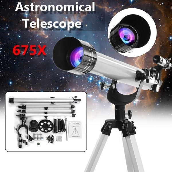 675x Outdoor Portable High Magnification Refractive Astronomical Telescope with Tripod - BeZONED