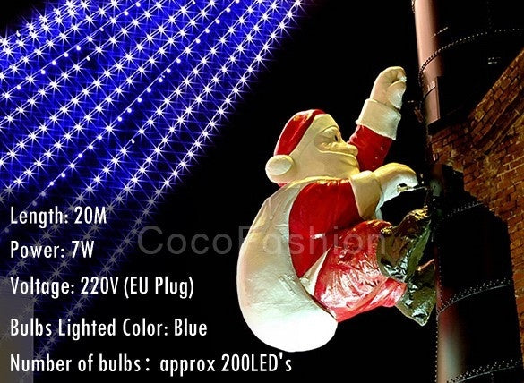 20M 200 LED Blue Lights Decorative Christmas Party Festival Twinkle String Lamp Bulb - BeZONED