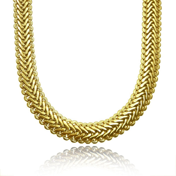18K 18CT Yellow Gold GF Mens Vacuum coating Snake Chain Necklace - BeZONED