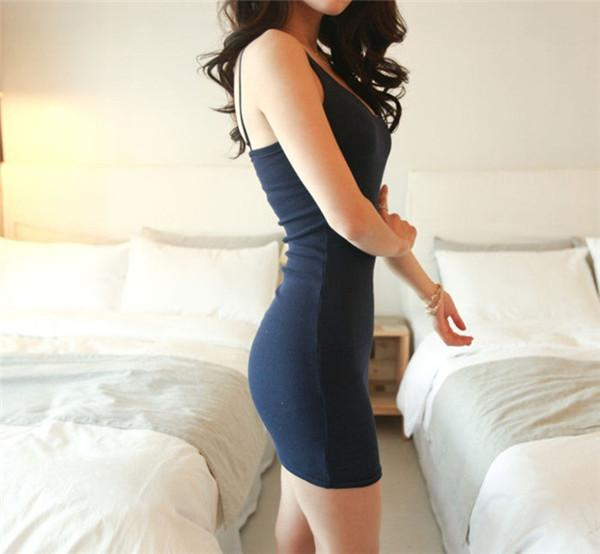 Strap Solid Party  Bodycon Dress - BeZONED