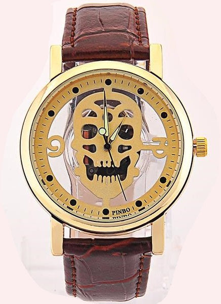 Leather Skull Imitation Watch For Men - BeZONED