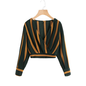 Yellow Stripe Crop Top for Women - BeZONED
