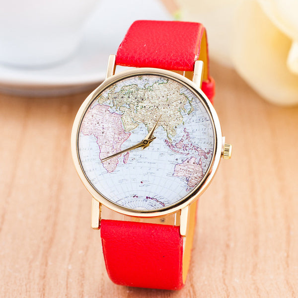 Leather World Map Quartz Watch For Women - BeZONED