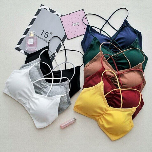 Solid Colors Bralette Underwear Strappy Padded Bra Tops - BeZONED