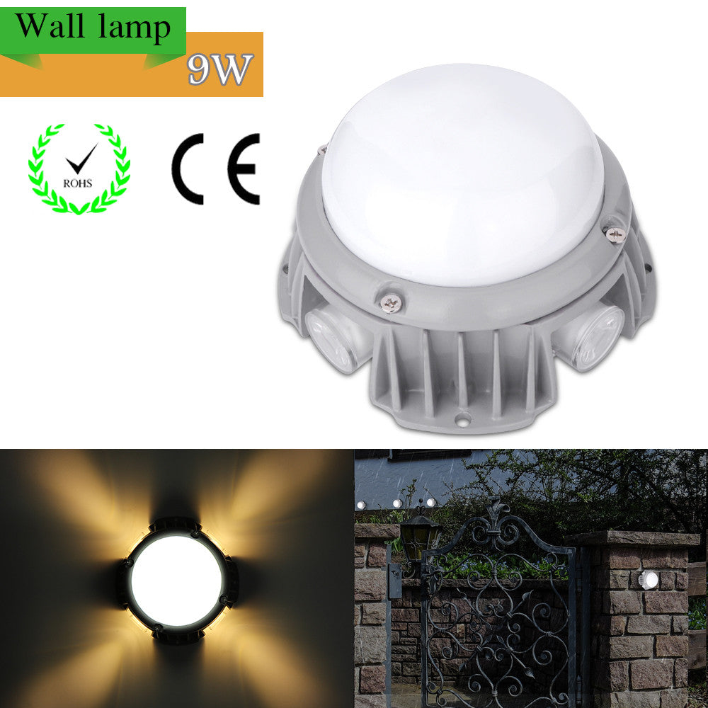 9W Waterproof LED Wall Lamp Night Light for Outdoor Plaza Doorway Garden - BeZONED