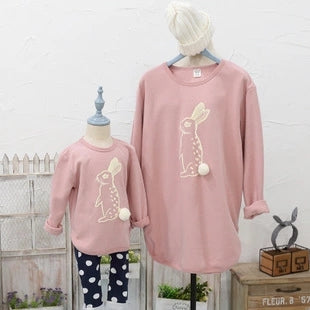 In stock family look clothing cute rabbit cotton printing family matching clothes