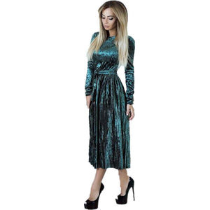 Women Maxi Long Velvet Dress - BeZONED