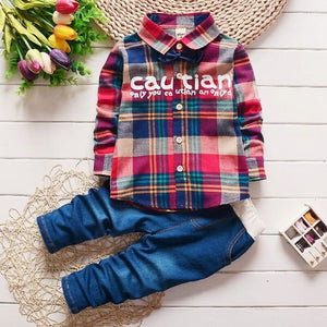 2017 Spring Kids Warm Kids Costumes Set Boy Children's Fashion Plaid Suit Boys Clothes Baby Kids Clothing Sets Boy Outfits Brand - BeZONED
