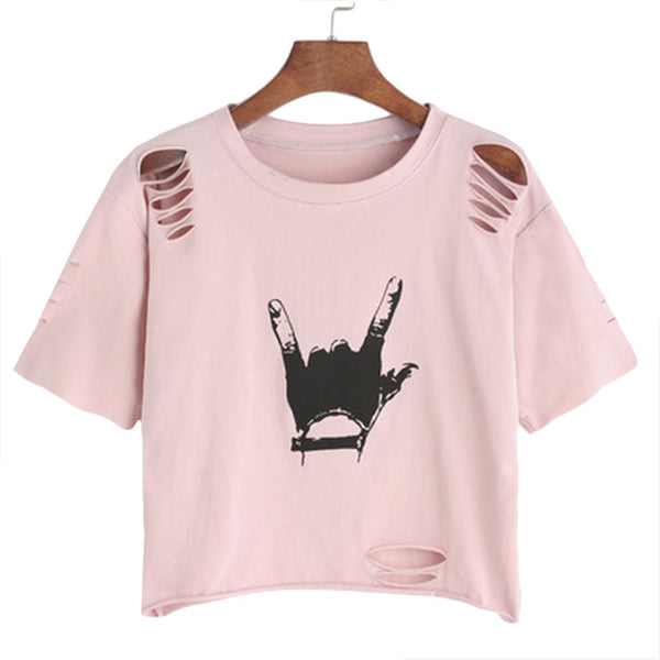 Women Print Ripped Crop T-shirt 2018 - BeZONED