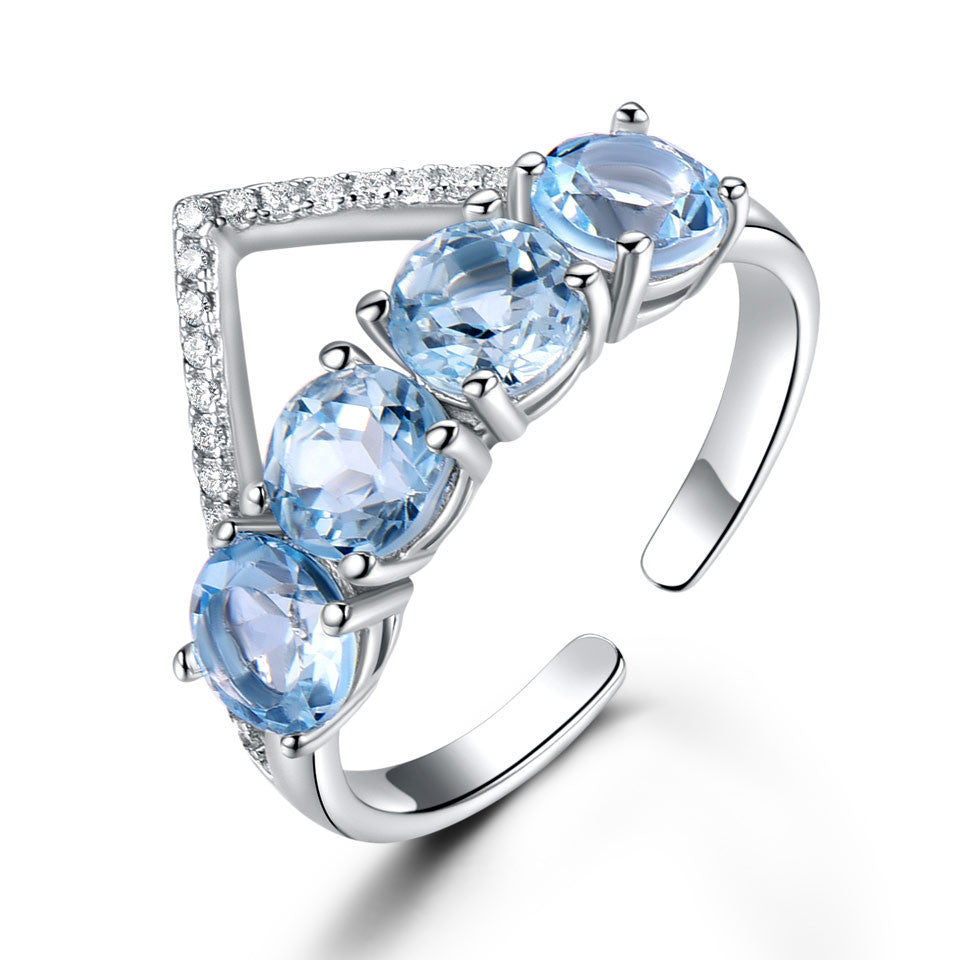 925 Sterling Silver Natural Blue Topaz Ring - BeZONED