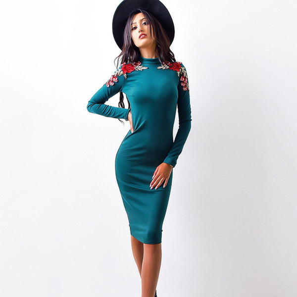 2018 Spring Fashion Women Tight Dress Casual O-neck Long Sleeved Appliques Dresses - BeZONED