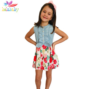 Belababy Baby Girl Dress 2018 New Brand Floral Girls Summer Dresses Princess Kids Dresses - BeZONED
