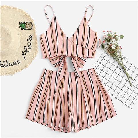Knot Back Striped 2PCS SET For Women - BeZONED