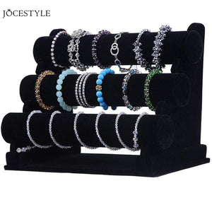 3-Tier Jewelry Bracelet Watch Bangle Display Holder Stand Showcase T-bar Stand Rack - BeZONED