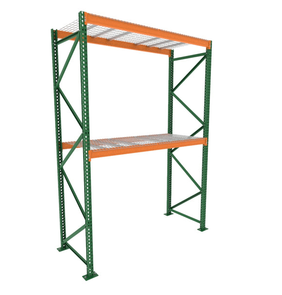 2 shelf starter racking unit, racking posts, uprights, and adjustable beams