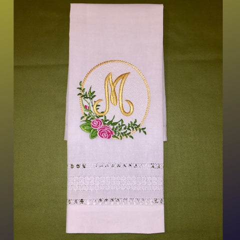 Embroidered and personalized Linen guest towels
