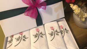 linen dinner napkins embroidered with roses