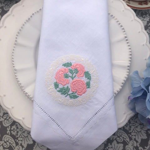 embroidered with flowers linen napkin