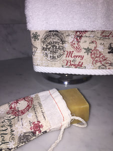Christmas hand towel and matching soap