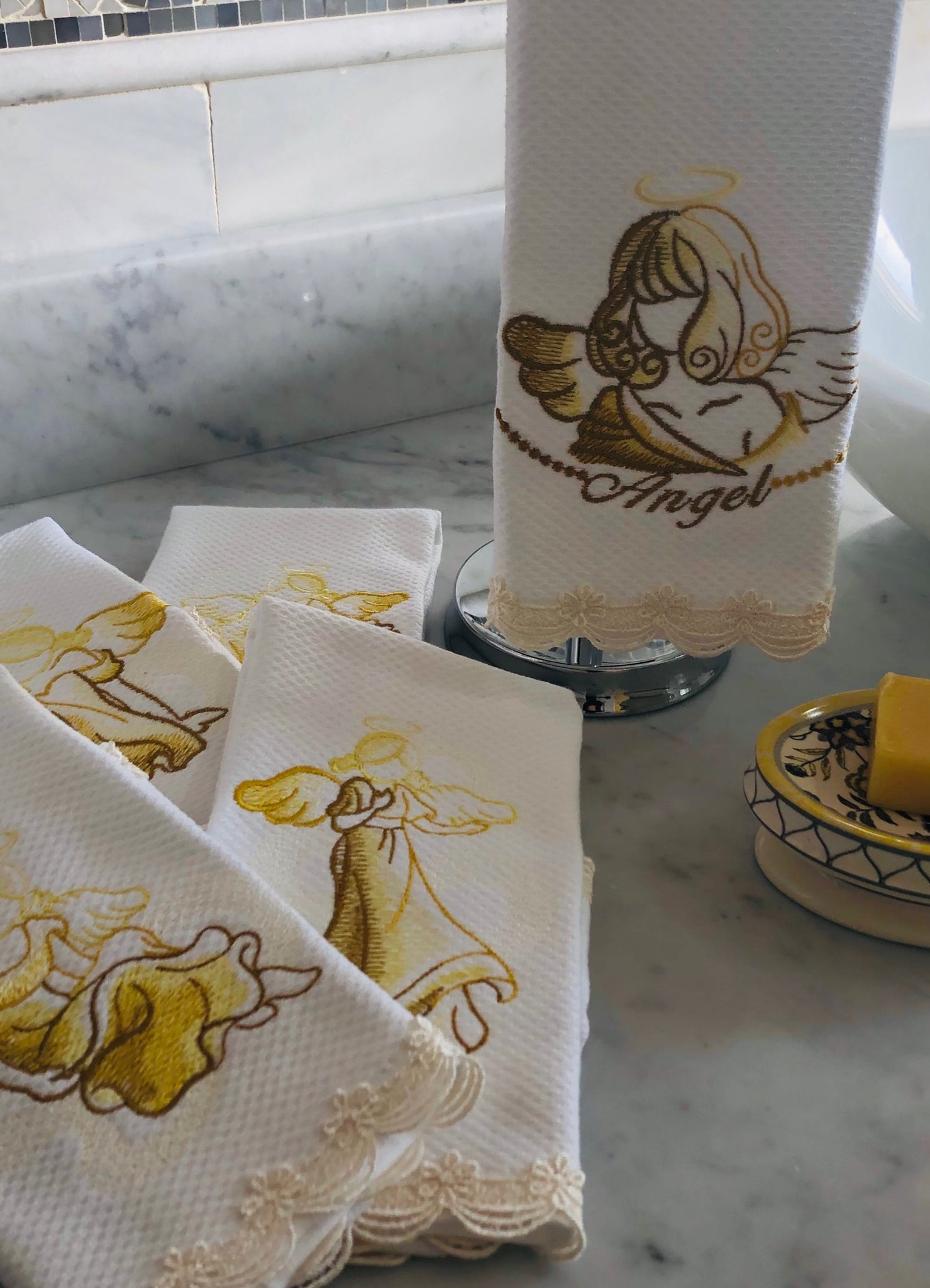 five set embroidered fingertip towels embroidered with angels