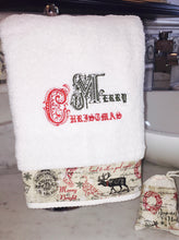 Load image into Gallery viewer, Christmas hand towel with merry Christmas embroidery