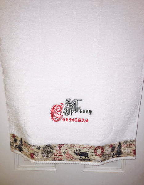 hand towel with merry Christmas embroidery