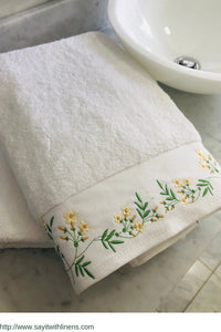 customized bath towel set embroidered with jasmine flowels
