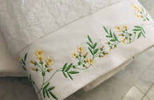 Load image into Gallery viewer, custom bath towel embroidered with flowels