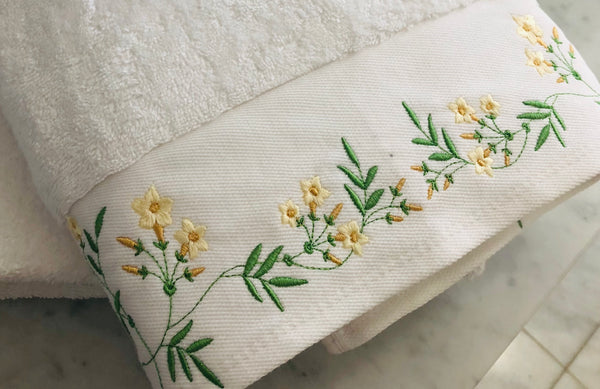 custom bath towel embroidered with flowels