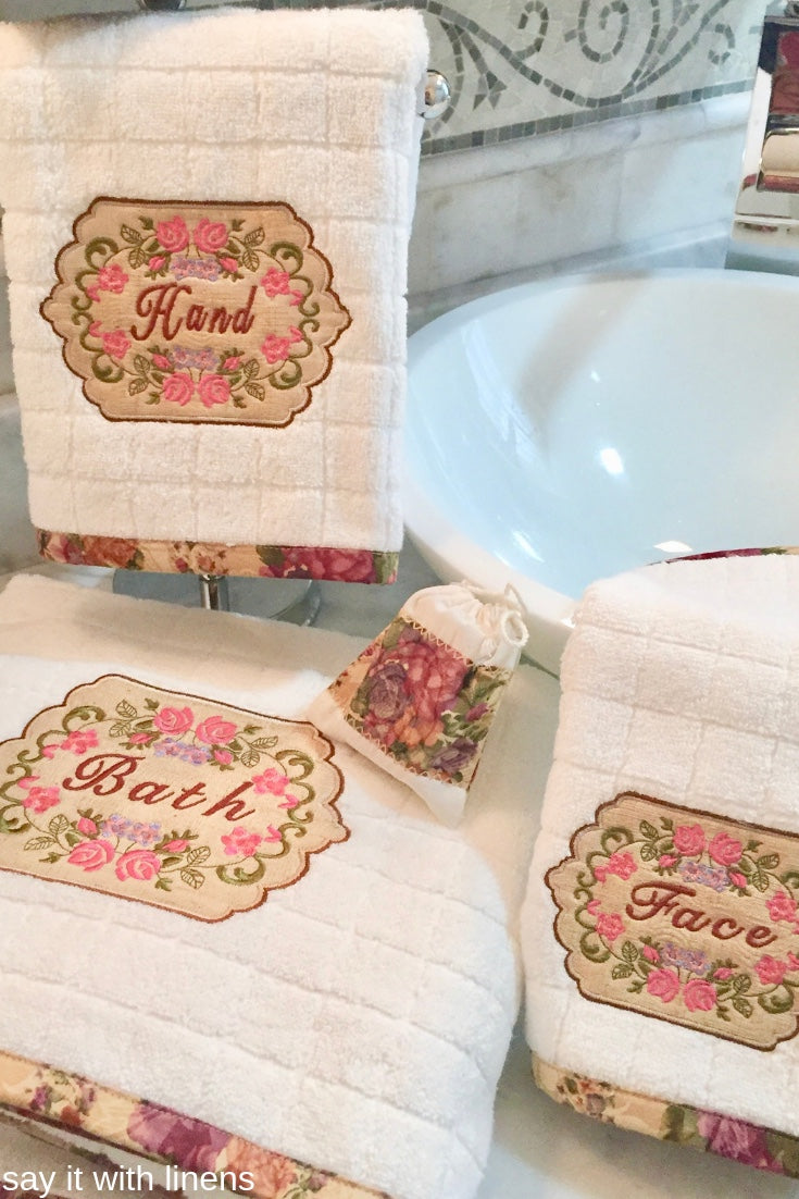 custom embroidered towel set with vintage roses design