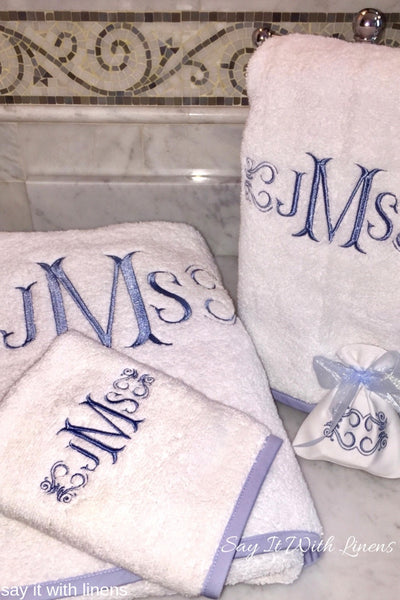 monogram towel set with blue piping