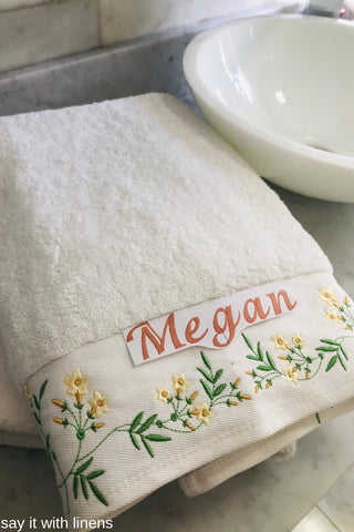 bath towel set personalized and embroidered with jasmine flowels