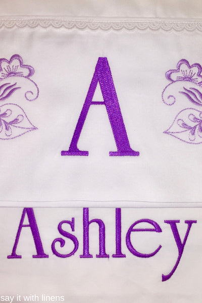 monogram pillow and personalized bed flat sheet