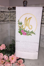 Load image into Gallery viewer, monogrammed guest towel embroidered with roses