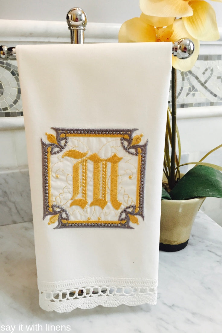 monogram guest towel