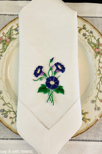 custom embroidered linen dinner napkins
