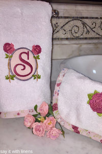 Rose Monogram Towel Set