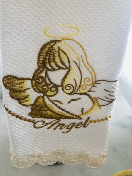figertip towel embroidered with angels