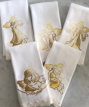 Load image into Gallery viewer, five set embroidered fingertip towels embroidered with angels