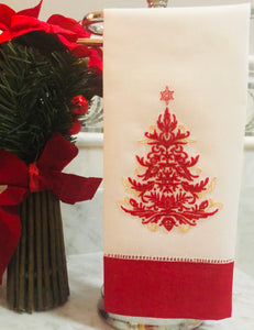 Christmas tree linen guest towel
