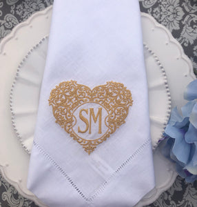 embroidered linen dinner napkins